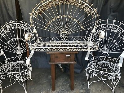 Vintage Twisted Wrought Iron 3pc Peacock Victorian Patio Set,, stunning..