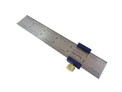 "Ruler Stop Fence w/ 6"" Machinist Rule Anodized Brass Knob Taytools 108883"