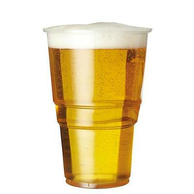 PLASTICO Clear Strong Disposable Plastic 20oz Pint Beer Glasses Cups Tumblers