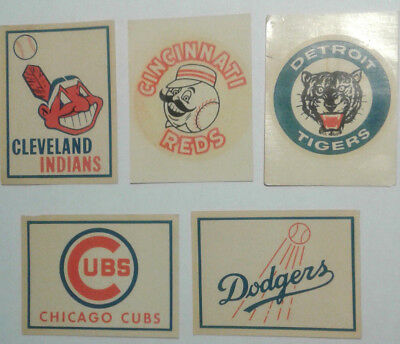5  Card  Lot  Of  Vintage  Baseball  Team  Transfer  Decals  Double  Bubble
