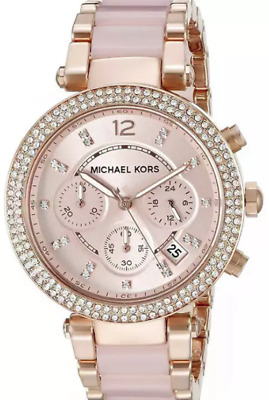 Michael Kors Women's MK5896 Parker Chronograph Blush and  Rose Gold Tone Watch