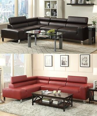 MODERN SECTIONAL SOFA Espresso Burgundy Colors Sofa Chaise ...