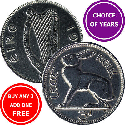 Ireland Old Threepence (3d) Coins - Choose Year - 1928-1968 - Irish Hare