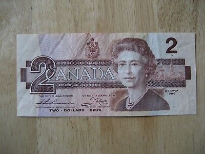 Canadian 1986 $2 bank note