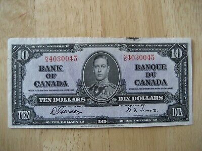 Canadian 1937 $10 bank note