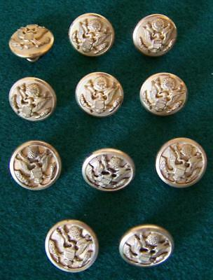 """11 Vintage Us Army Eagle Brass Buttons 9/16"""" Diam- Marked M.c. Lilley & Superior"""