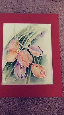"Wall decor,watercolor poppies panting  size 11x14"" original"