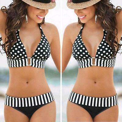 Women's Swimwear Push-Up Bikini Set Striped Padded Swimsuit Beachwear Plus Size