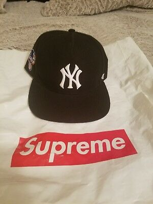 97256c29125 AUTHENTIC SUPREME NEW York Yankees 47 Brand Black Snap 2015 ...