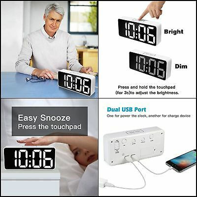 White LED Digital Alarm Clock-Snooze,Dimmer,Outlet-USB Port for Phone Charger