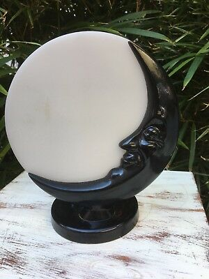Exquisite Antique Art Deco Quarter Moon Face Lamp Excellent Cond Made in England