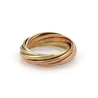 8ba81ed4ee58 Cartier Trinity 18k Tricolor Gold 1.5mm 7 Rolling Band Ring Size 52-US 6