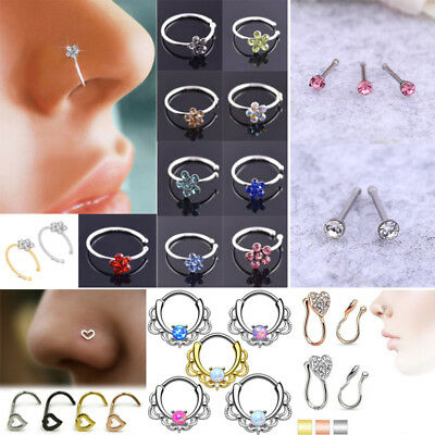 60pcs For Women's Crystal Nose Rings Bone Stud Stainless Steel Body Piercing CA