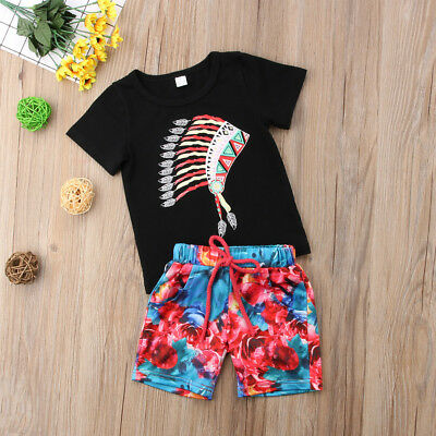 US Toddler Kids Baby Boy Summer Casual T-shirt Tops+Shorts 2pcs Outfits Set