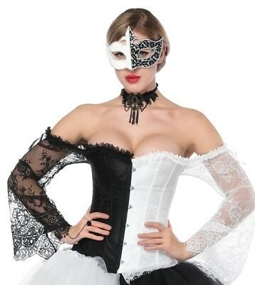 Harlequin Jester Black & White Corset with long lace sleeves - Aussie Seller