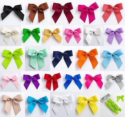 1, 6 or 12 Pack Self Adhesive Large 5cm Pre Tied Bows 16mm Grosgrain Ribbon