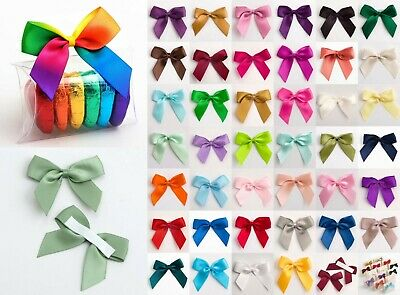 Large 5cm Satin Bows - Self Adhesive Pre Tied 16mm Ribbon 1 Sample, 6 or 12 Pack
