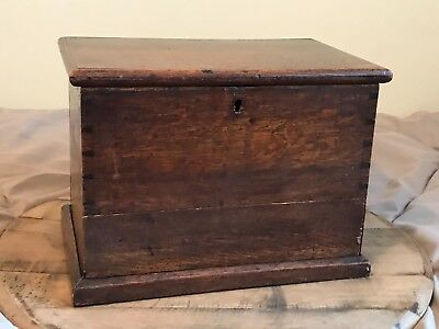 Small Antique Solid Oak 19th Century Box With Drawer at Bottom Apprentice Piece
