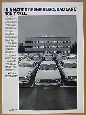 1972 Volvo Cars 'in a Nation of Engineers' parking lot photo vintage print Ad
