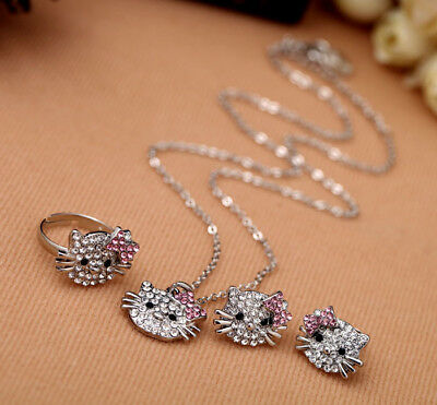 4PC Hello Kitty Rhinestone Crystal Necklace Ring Earrings Girl Gift Jewelry Set