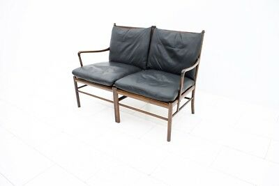 Ole Wanscher Colonial Sofa Bench Settee by Poul Jeppesen, Dänemark 1960s Leather