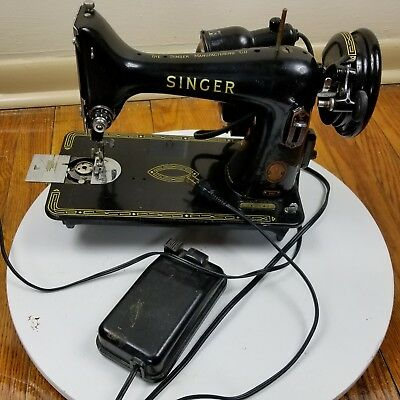 Vintage 1954 Singer Sewing Machine 99K with Pedal and Lamp