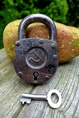 Antique Padlock Soviet Hammer & Sickle Working order Collector Old Russia 29-03