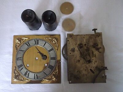 DOUBLE FUSEE ?? CLOCK MOVEMENT,FACE,HANDS and WEIGHTS spares and repairs