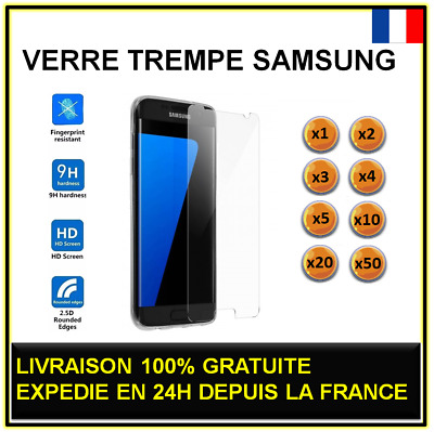 Vitre verre trempé SAMSUNG Galaxy S7 protection écran Lot 1 2 3 4 5 10 20 50