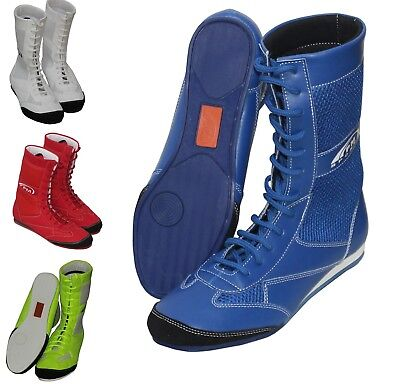 PM Sports Long Anklet Genuine Leather Boxing//Wrestling Boots Rubber Sole Upper Mash Junior//Youth