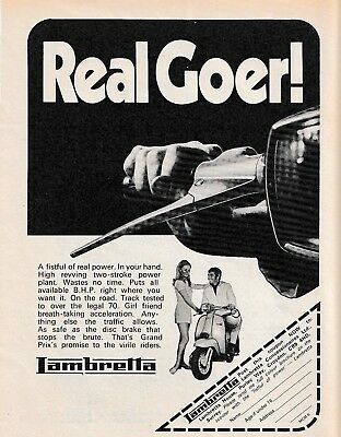Orig. 1970 Lambretta Scooter Kitsch 'real Goer' Sales Poster/ad