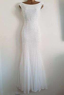 NEW EX D*benh*ms 8-18 White Sequin Bardot Bridal Wedding Occasion Dress