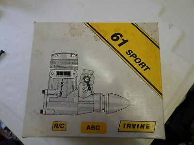 IRVINE  ABC  0.61 cui glow motor, r/c with silencer. used but still good.