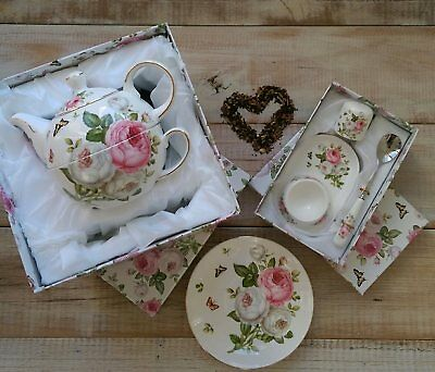 Butterfly Rose Teapot Tea For One with matching Rose Egg Cup ~ Spoon and Salt