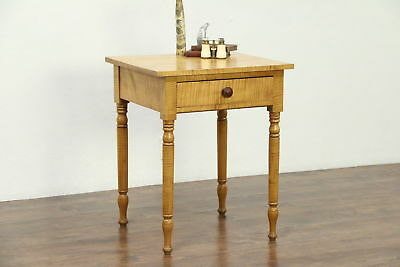 Tiger Maple Antique 1820 Sheraton Nightstand or End Table, New York