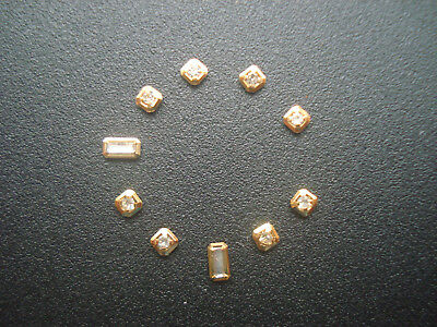 8 Square And 2 Rectangle Golden Cz Hour Markers For Mens Datejust Day-Date Dial
