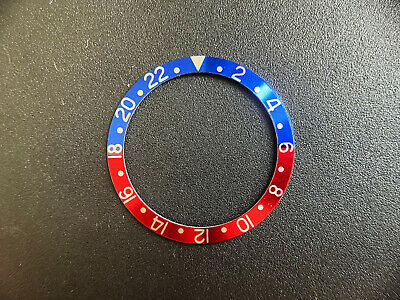 Vintage Gmt-Master Style Of Pepsi Blue-Red Aluminum Bezel Insert Silver Numbers