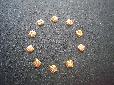 10 Golden Square Hour Markers With Cz Rhinestones For Men Datejust Day-Date Dial