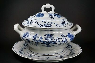 Blue Danube China Oval Soup Tureen, Lid, and Underplate Patent 99183 Ribbon Logo