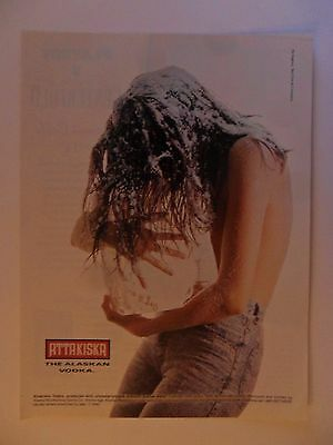 1991 Print Ad Attakiska Alaskan Vodka ~ Topless Frosty Girl Hugging Block of ICE