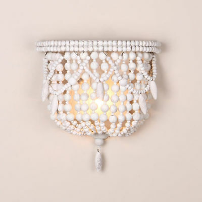 Classic Kids Room Wall Lamp White Wood Beaded 1-Light Indoor Wall Sconce Decor