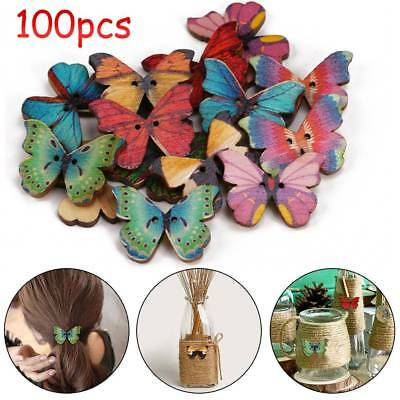 100pc Mixed Butterfly Shape 2 Holes Wooden Buttons Sewing Craft Scrapbooking DIY