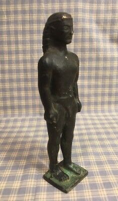 "Antique 7"" Egyptian Man Solid Bronze Sculpture Figurine Statue Rare Marked M??"
