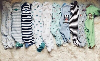 Sleepers lot boy Carter's sleep and play 3 months footed bodysuits newborn baby