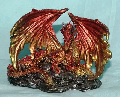 Mother Dragon & Eggs Statue Fantasy Mythical Gothic Magic Figure Home Ornament A