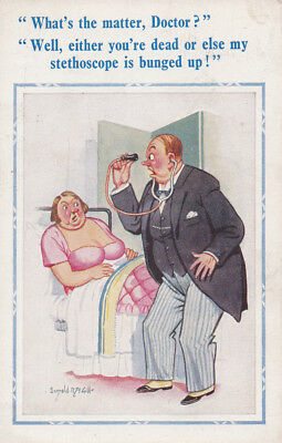 UK Saucy D. CONSTANCE LTD Donald McGill Postcard No 1907 Doctor and stethoscope