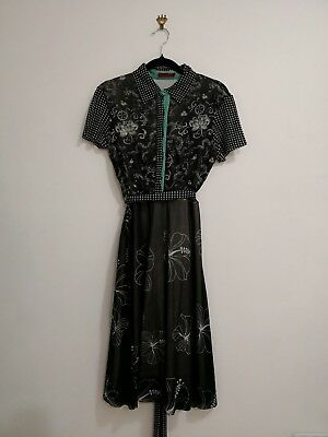 VIVIENNE TAM collared dress with floral and polka dot patterns Size S Black/mint