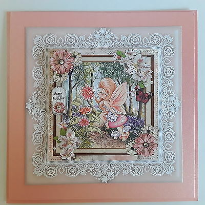 Fairy in the Forest with rhinestones ~Birthday~ Handmade card 3D~