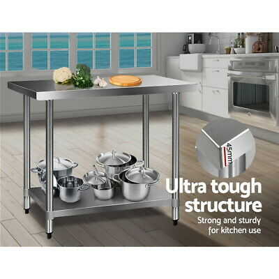 Commercial Work Bench 430 Stainless Steel Cafe Kitchen Home Table Workshop Cafe
