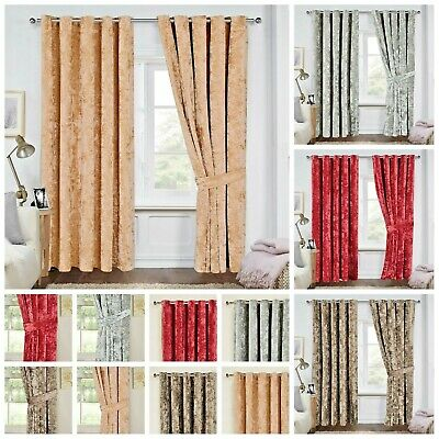 Luxury Crushed Velvet Heavy Fabric Eyelet Ring Top Fully Lined Window Curtains